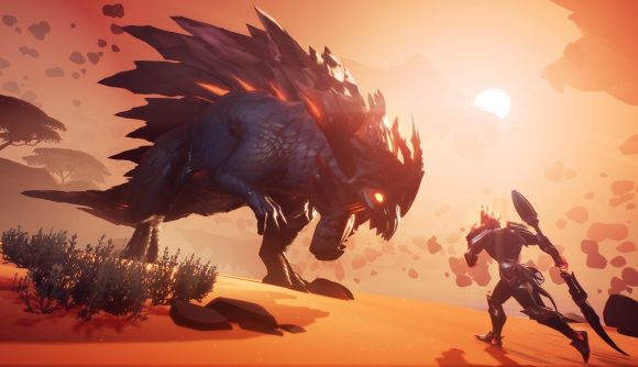 A monster hunter tackling a beast in Dauntless