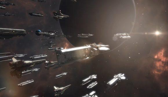 A fleet of spacecraft heading into battle