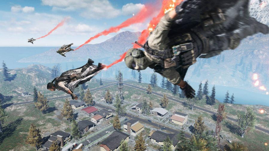 Call of Duty: Mobile PC: soldiers drop into the battlefield in COD Mobile PC's battle Royale mode