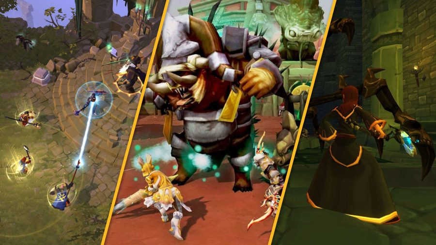 The best mobile MMORPGS, three different games are split by orange bars