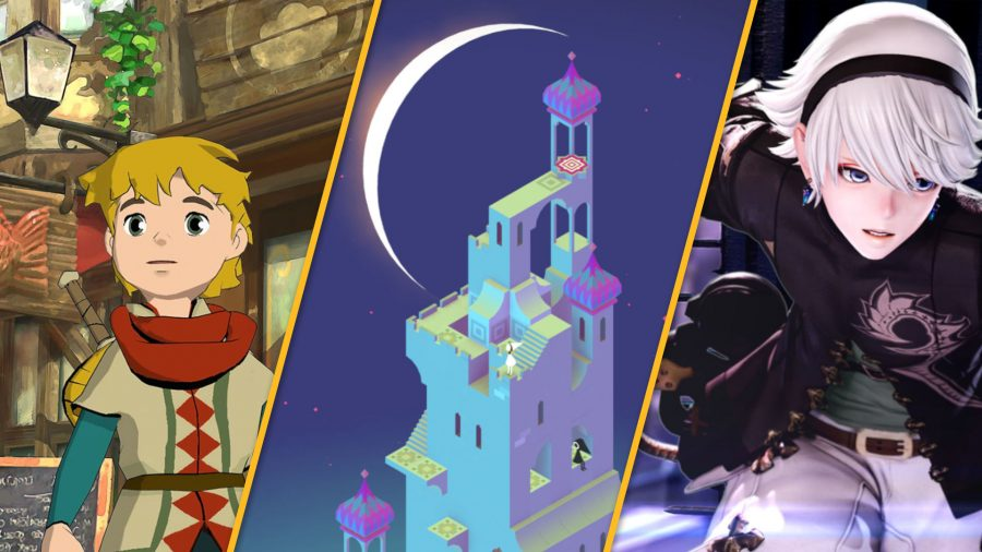 Three panels showing Baldo, Monument Valley, and Fantasian as the best Apple Arcade Games