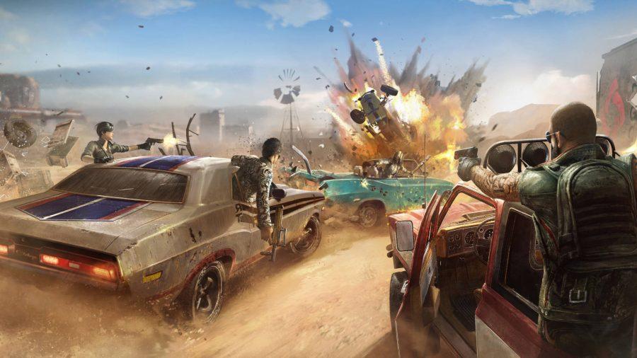 A man shooting a bazooka out of a car