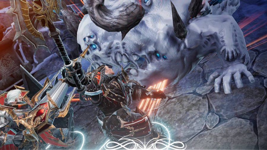Two warriors are fighting against a demon with a massive ghostly blue body and horns randomly placed around it in an attempt to make it look intimidating.