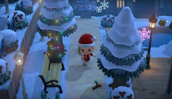 Snowy island in Animal Crossing