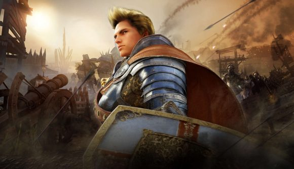 A blonde knight standing with his shields with no protection on his head as ballistae fire and fire bolts rain from above.