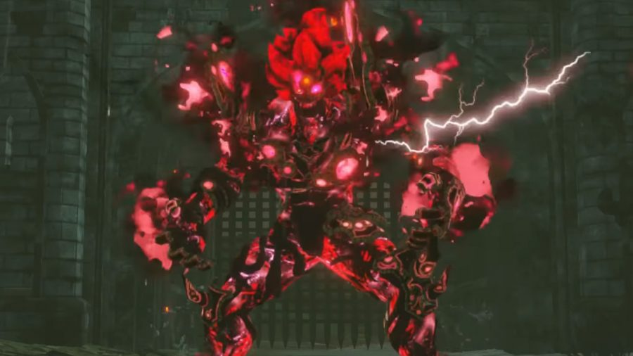 Calamity Ganon stands to fight in the 'Versus Calamity Ganon' challenge. He's covered with red swirly darkness powers.