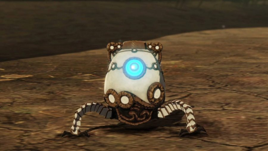 The little robot that accompanies Zelda in Hyrule Warriors Age of Calamity is called Terrako. This is not it in its powered up form.