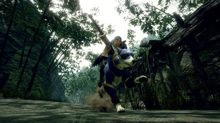 The hunter is riding a Palamute - a blue dog the size of a wolf.
