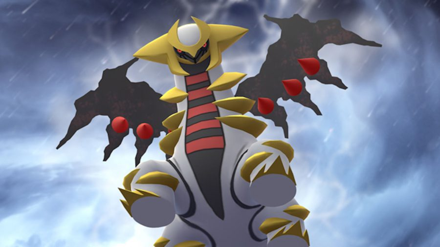 Giratina rearing in a thunderstorm