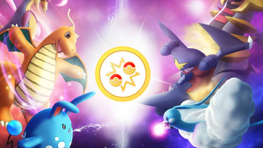 Several Pokémon clashing in battle. Azumarill, Dragonite, and Cresselia are on the left, while Altaria, Garchomp, and Giratina are on the right.