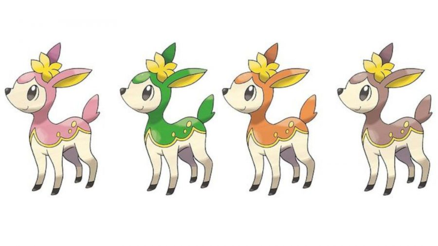 All four Deerling forms, going from spring, summer, autumn, and winter. Each one appears in a different Season in Pokémon Go.