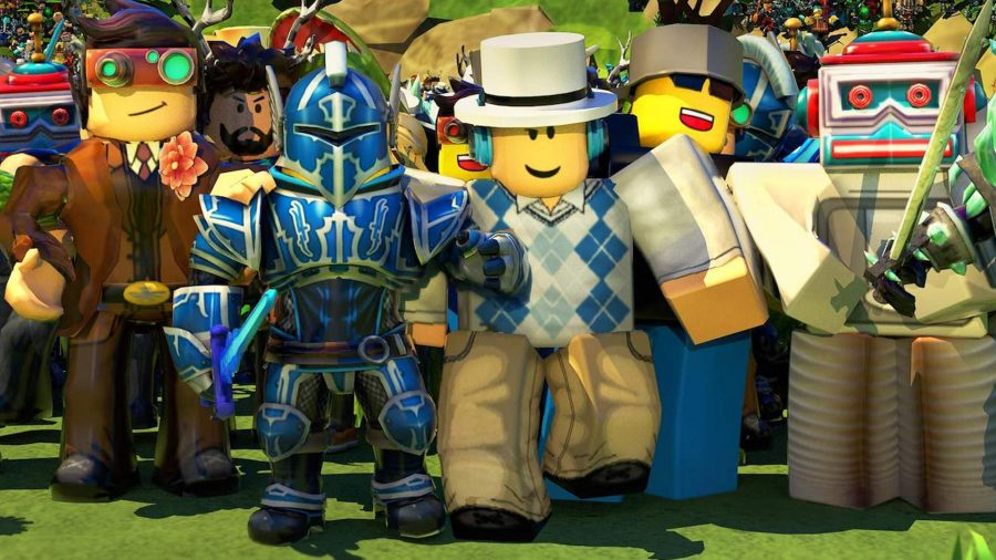 Roblox characters standing in a group