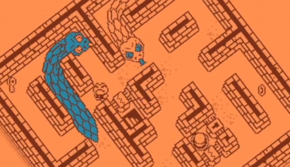 Two pixel-art snakes chase a toad through a dungeon