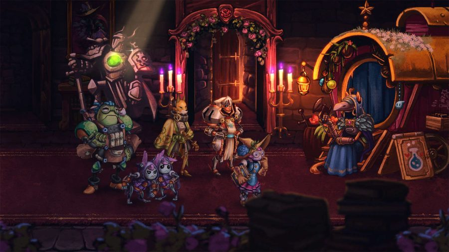 Heroes chatting to a storekeeper in SteamWorld Quest