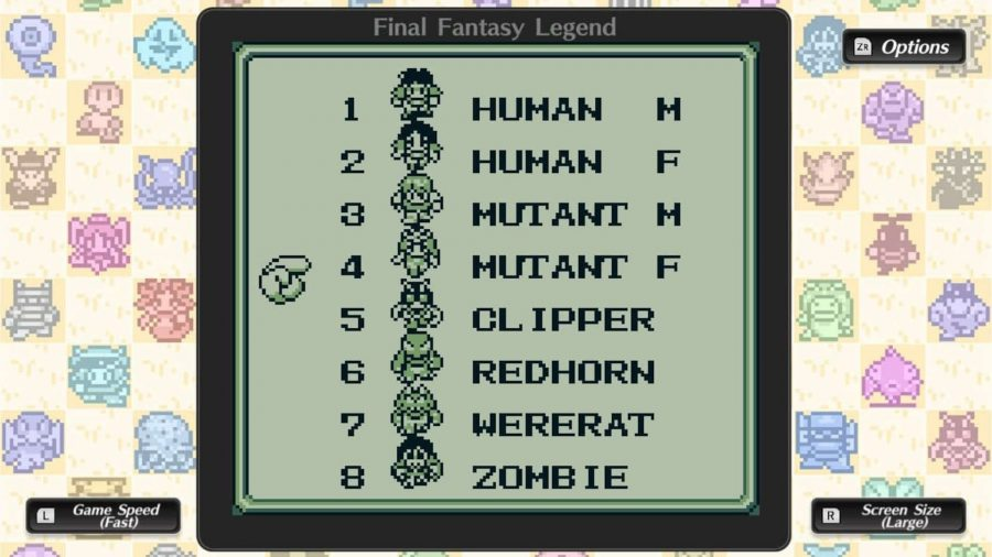 The Collection of SaGa: Final Fantasy Legend character selection screen