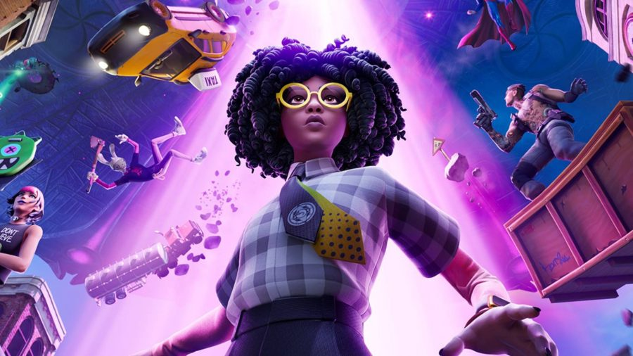 a woman wearing a plaid shirt and glasses stands in front of a large purple alien beam, pulling things up from the ground