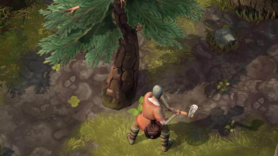Viking chopping down a tree in Frostborn