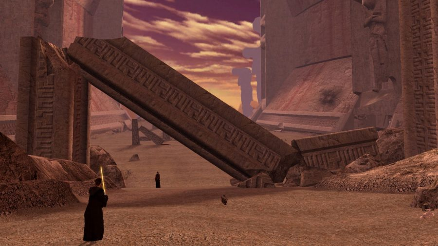 A Sith standing on a sandy planet in Star Wars: Knights of the Old Republic 2