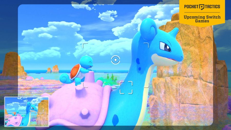 Someone taking a picture of Lapras