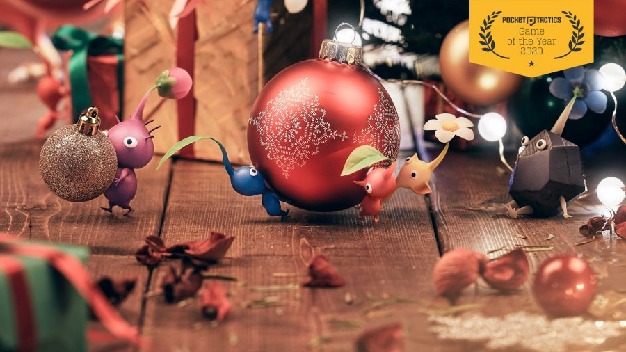 Pikmin carrying Christmas ornaments