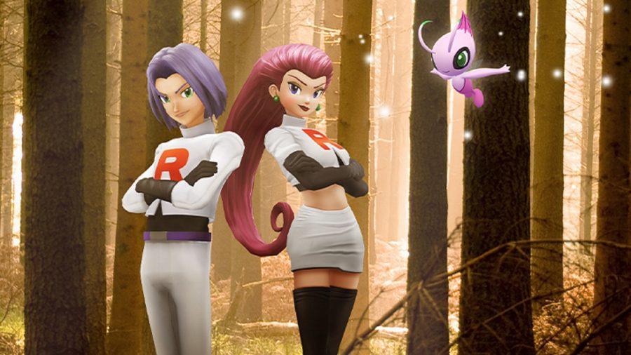 Jessie, James, and shiny Celebi