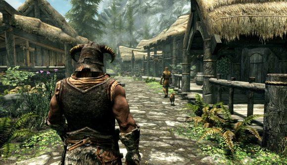 Dragonborn exploring a town in Skyrim