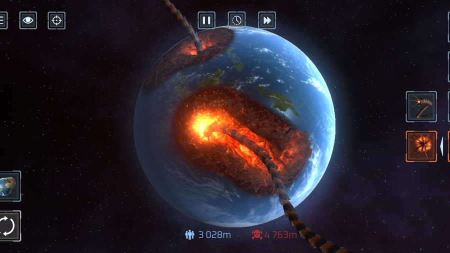 Alien claws tearing a hole in a planet in Solar Smash
