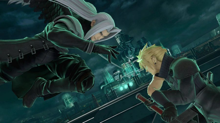 Sephiroth and Cloud fighting