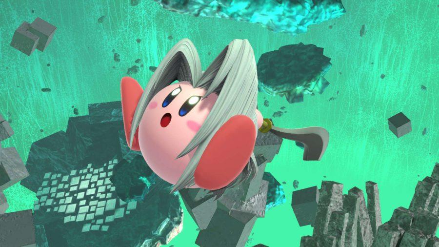Kirby dressed as Sephiroth