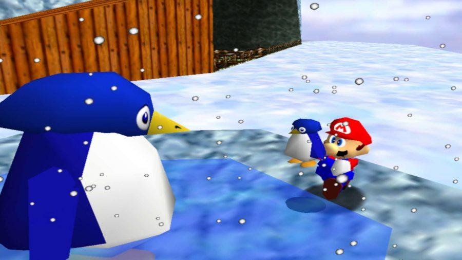 Mario carrying a penguin