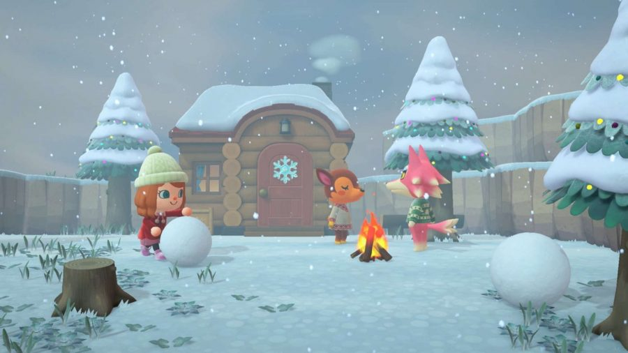 An Animal Crossing: New Horizons island in the snow