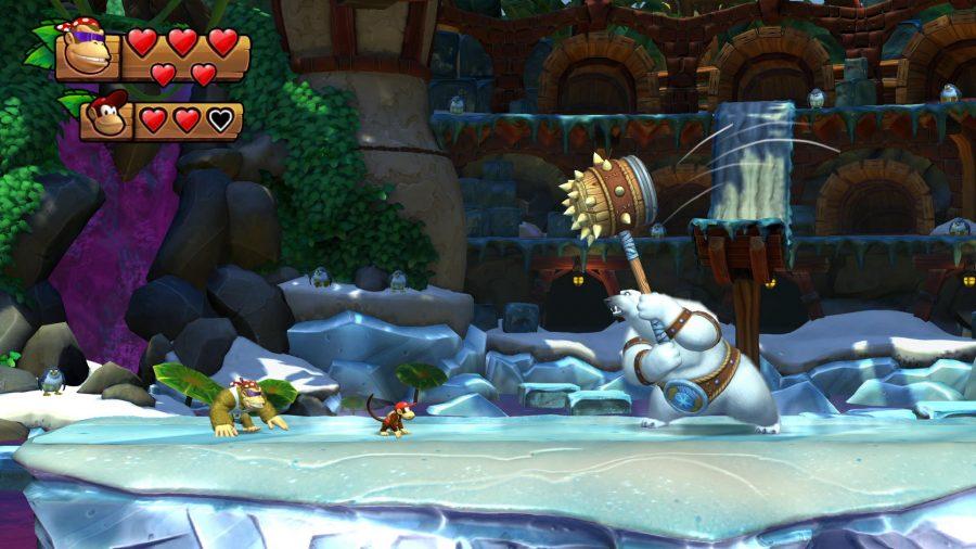 Donkey Kong characters fighting a polar bear