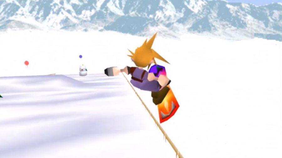 A Final Fantasy VII character snowboarding