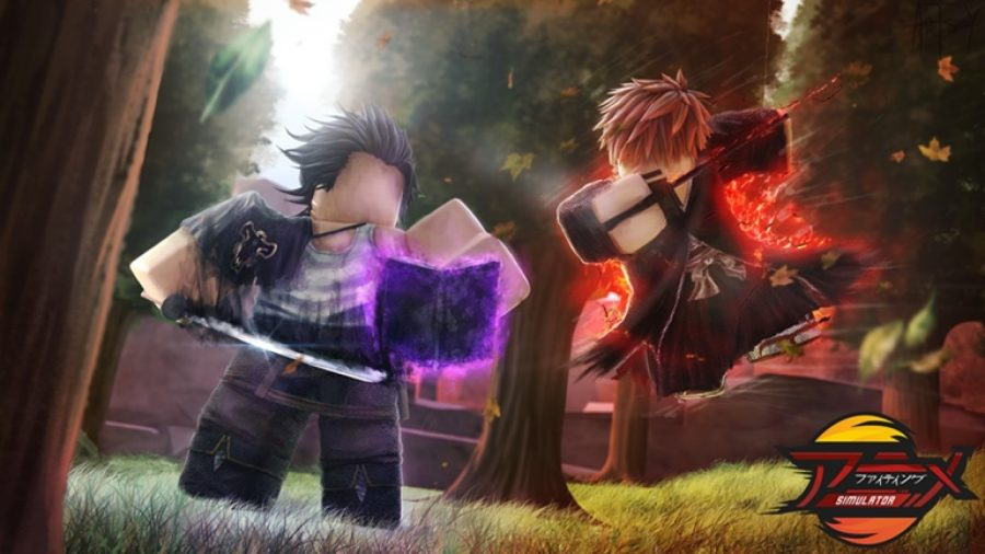 Two sword-wielding characters fight in a forest in Anime Fighting Simulator