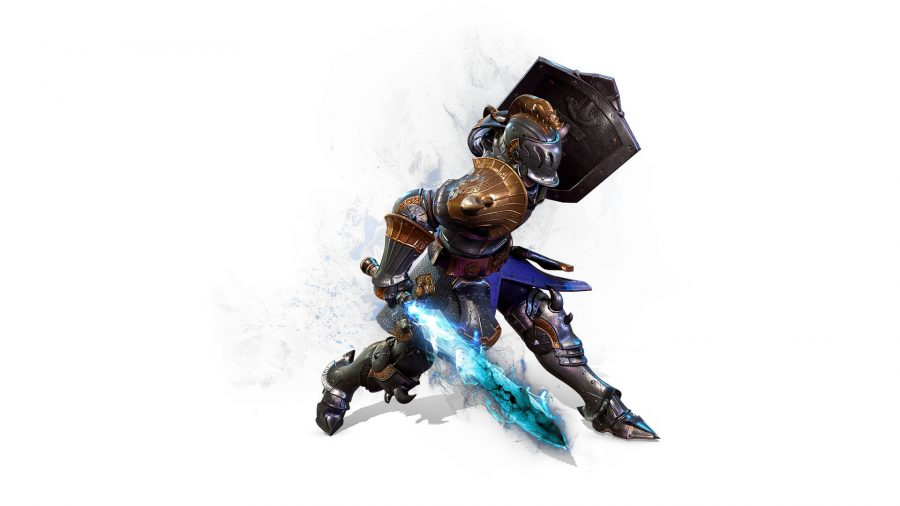A Bless Mobile guardian dressed in chain mail, wielding a sword and shield in an attack position