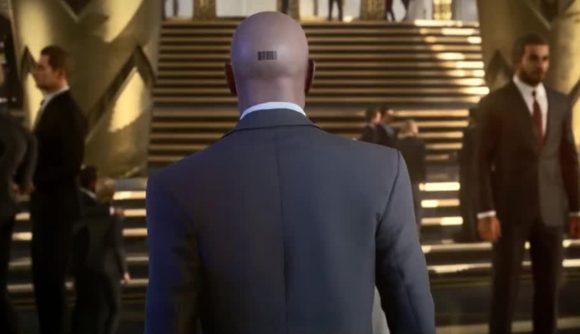 Agent 47 walking through a crowd