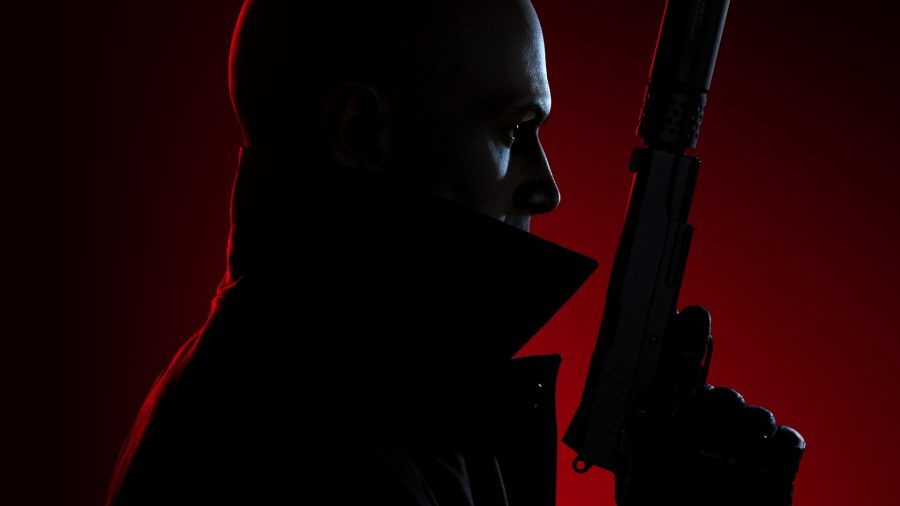 Agent 47 holding a pistol