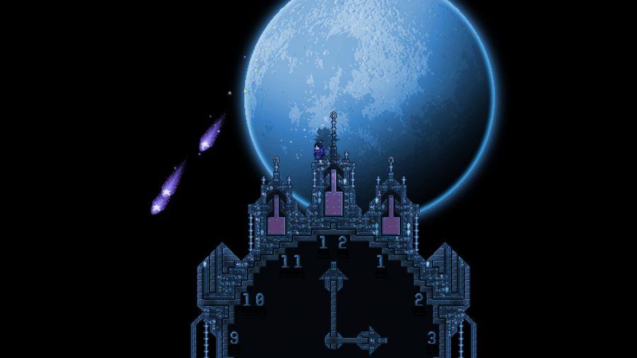 The moon overlooking clock