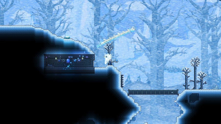 A wizard casting a spell in a frozen forest in Terraria
