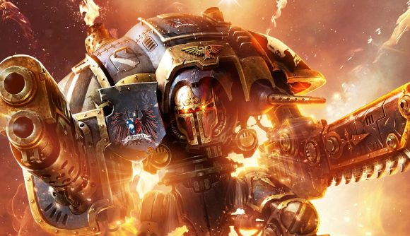A Space Marine surrounded by flames