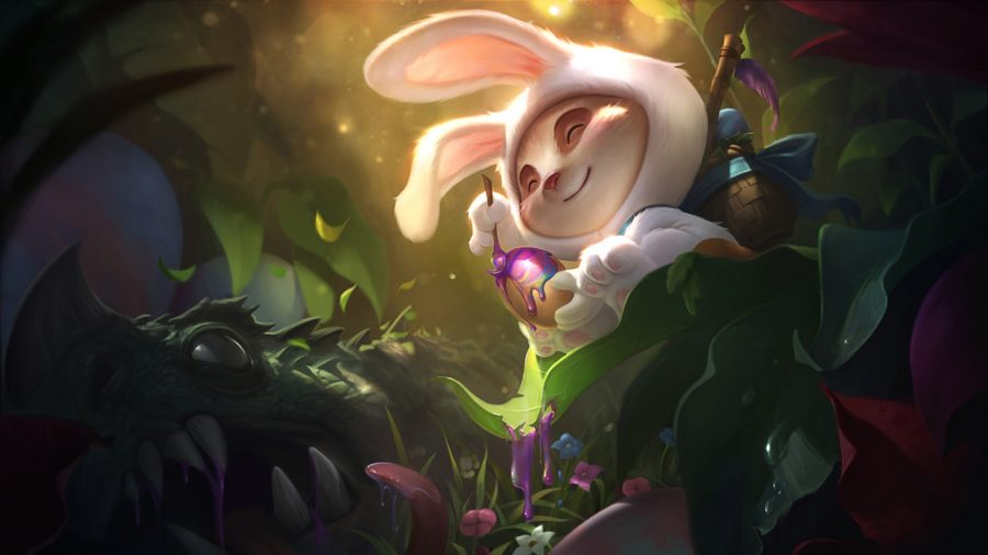 Teemo dressed up as a bunny painting an Easter egg