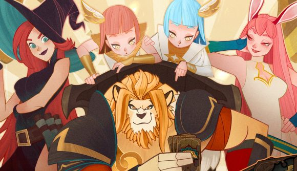 AKF Arena lion surrounded by other characters