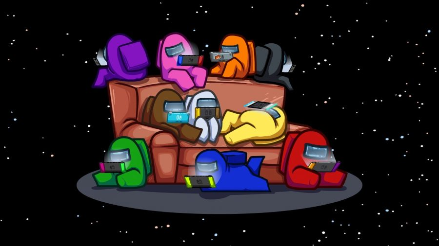 Among Us crewmates sitting on a couch and playing Nintendo Switch