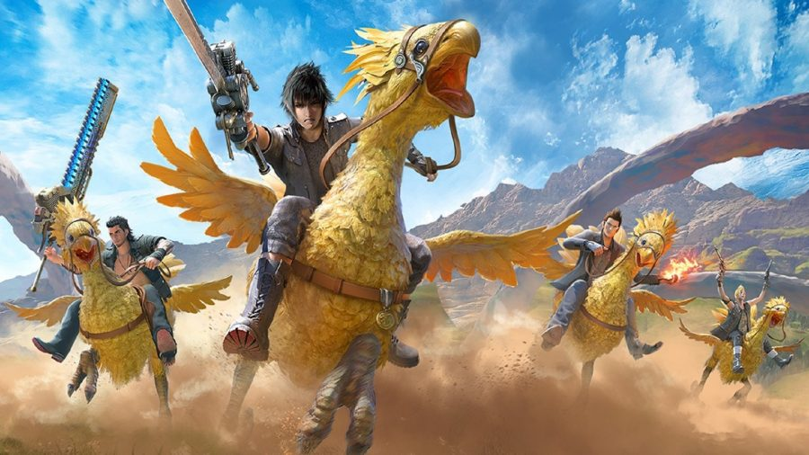 Final Fantasy characters riding chocobo