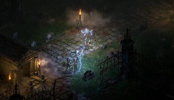 The Sorceress casting a lightning spell in Diablo II: Resurrected