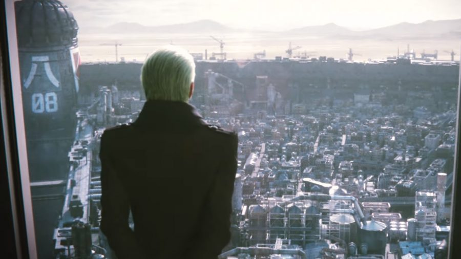 A Shinra employee looking out over Midgar