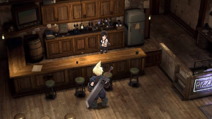 Cloud Strife walking up to a bar