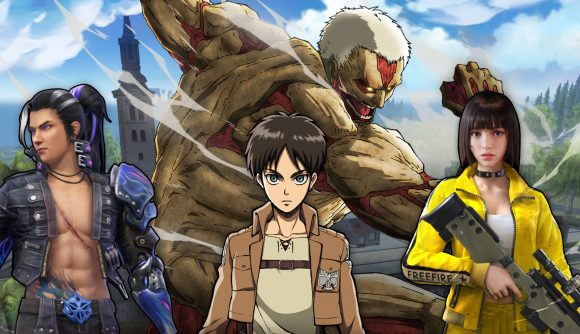 Free Fire characters and a titan