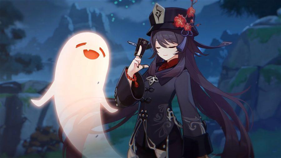 Genshin Impact's Hu Tao and a happy ghost