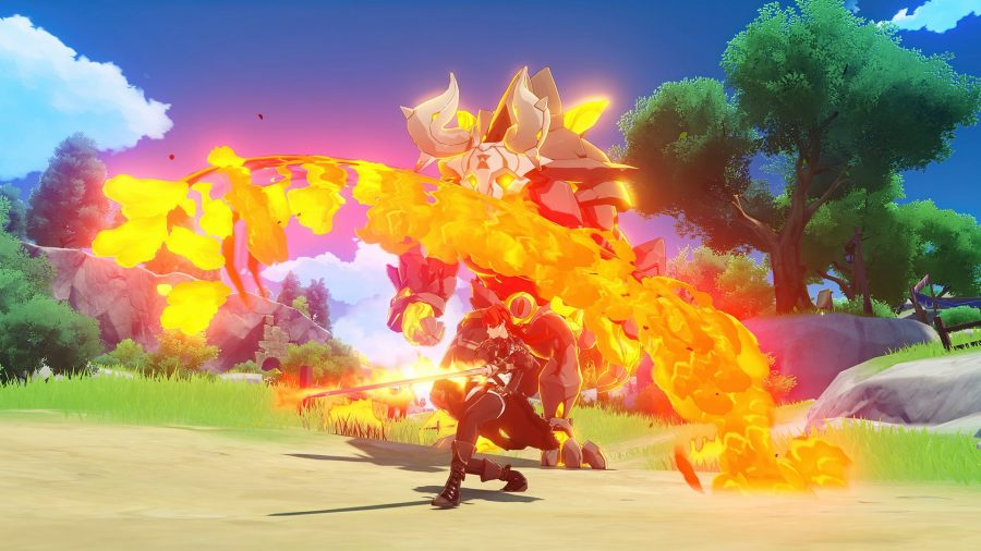 Diluc performing a powerful flame attack in Genshin Impact